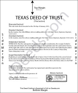 Texas Long Form Deed of Trust Form