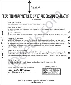 Texas Preliminary Notice to Owner and Original Contractor Form