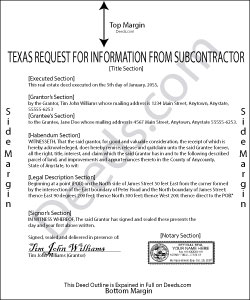 Texas Request for Information from Subcontractor Form