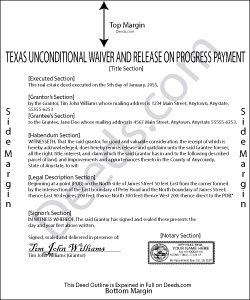 Texas Unconditional Waiver on Progress Payment Form