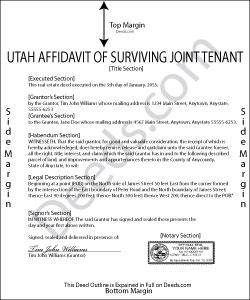 Utah Affidavit of Surviving Joint Tenant Form