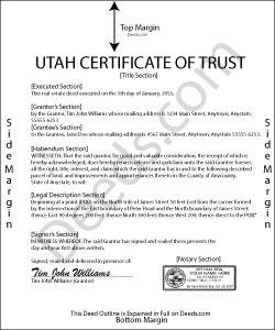 Utah Certificate of Trust Form