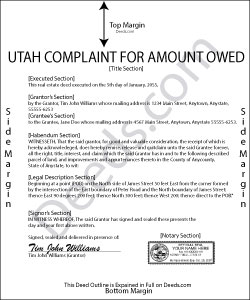 Utah Complaint for Amount Owed Form