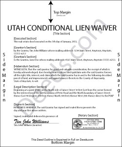 Utah Conditional Lien Waiver on Progress Payment Form