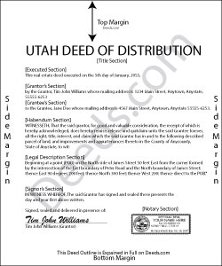 Utah Deed of Distribution Form