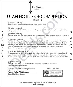 Utah Notice of Completion Form