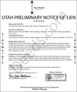 Utah Preliminary Notice of Lien Form