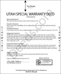 Utah Special Warranty Deed Form