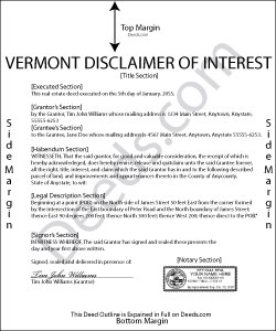 Vermont Disclaimer of Interest Form