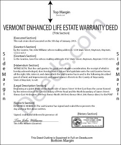 Vermont Enhanced Life Estate Warranty Deed Form