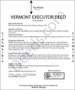 Vermont Executor Deed Form