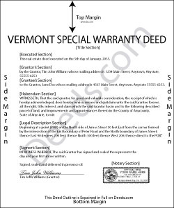 Vermont Special Warranty Deed Form