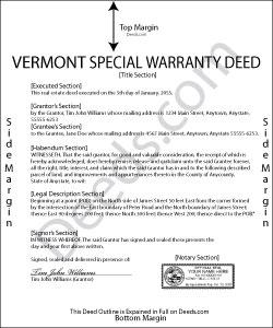 Vermont Special Warranty Deed Form