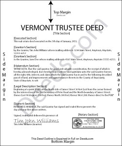 Vermont Trustee Deed Form