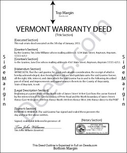 Vermont Warranty Deed Form