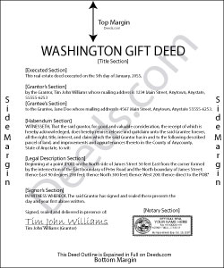 Washington Gift Deed Form