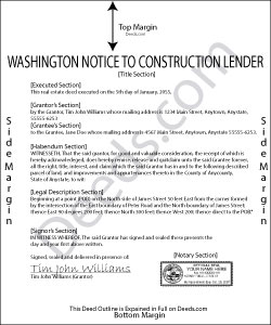 Washington Mechanics Lien Notice to Construction Lender Form