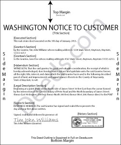 Washington Mechanics Lien Notice to Customer Form