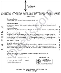 Washington Unconditional Waiver and Release of Claim upon Final Payment Form