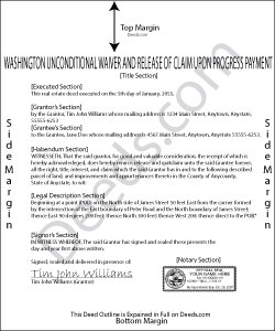 Washington Unconditional Waiver and Release of Claim upon Progress Payment Form