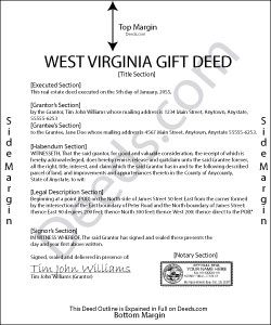 West Virginia Gift Deed Form