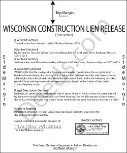 Wisconsin Construction Lien Release Form