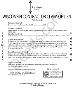 Wisconsin Contractor Claim of Lien Form