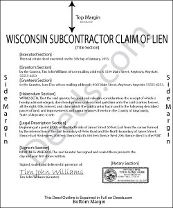 Wisconsin Subcontractor Claim of Lien Form