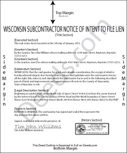 Wisconsin Subcontractor Notice of Intent to File Lien Form