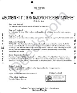 Wisconsin Termination of Decedent Property Interest Form