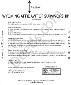 Wyoming Affidavit of Survivorship Form