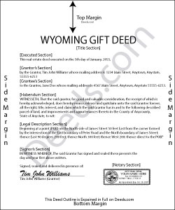 Wyoming Gift Deed Form