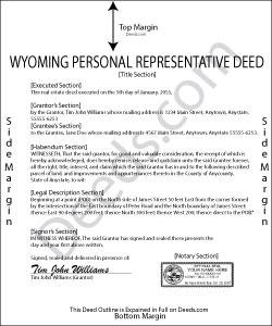 Wyoming Personal Representative Deed Form