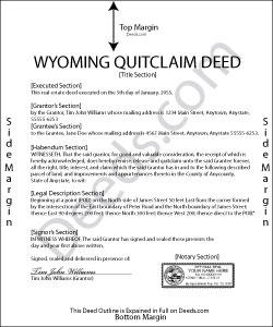 Wyoming Quit Claim Deed Form